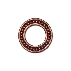 TierraCast Pewter Antiqued Copper Plated 16mm Med Beaded Ring Link x1