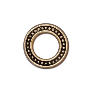 TierraCast Pewter Antiqued Gold Plated 16mm Med Beaded Ring Link x1