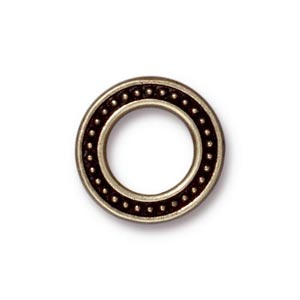 TierraCast Pewter Brass Oxide 16mm Med Beaded Ring Link x1