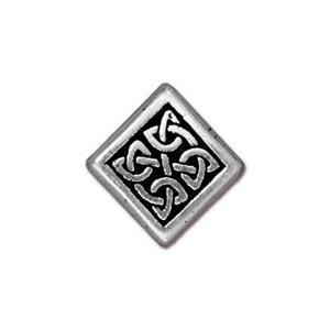 TierraCast Pewter Silver Plated 13mm Medium Celtic Diamond Bead x1
