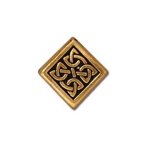 TierraCast Pewter Gold Plated 13mm Medium Celtic Diamond Bead x1
