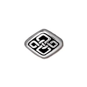 TierraCast Pewter Silver Plated 11x8.5mm Long Celtic Diamond Bead x1