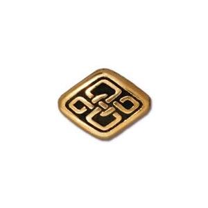 TierraCast Pewter Gold Plated 11x8.5mm Long Celtic Diamond Bead x1
