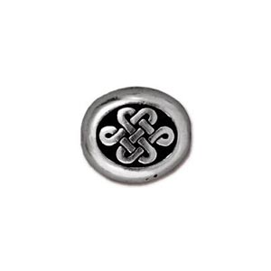 TierraCast Pewter Silver Plated 10x9mm Large Endless Celtic Oval Bead x1