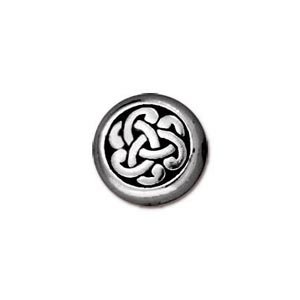 TierraCast Pewter Silver Plated 9x7.6mm Celtic Triad Coin Bead x1