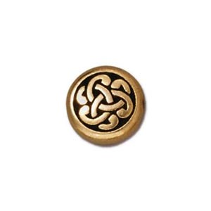 TierraCast Pewter Gold Plated 9x7.6mm Celtic Triad Coin Bead x1