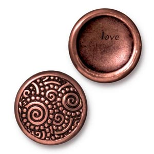 TierraCast Pewter Antique Copper Plated 15.2mm Spirals (Line 20) Snap Cap Button