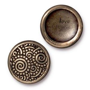 TierraCast Pewter Brass Oxide 15.2mm Spirals (Line 20) Snap Cap Button