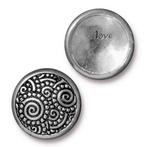 TierraCast Pewter Antique Silver Plated 15.2mm Spirals (Line 20) Snap Cap Button