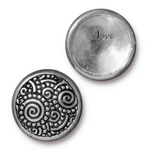 TierraCast Pewter Antique Silver Plated 15.2mm Spirals (Line 20) Snap Cap Button
