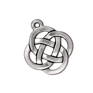 TierraCast Pewter Antique Silver Plated 17.7x20.5mm Celtic Round Open Knot Charm