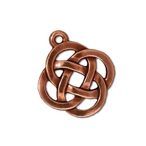 TierraCast Pewter Antique Copper Plated 17.7x20.5mm Celtic Round Open Knot Charm