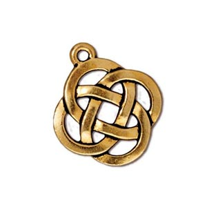 TierraCast Pewter Gold Plated 17.7x20.5mm Celtic Round Open Knot Charm