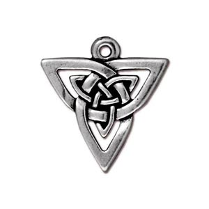 TierraCast Pewter Antique Silver Plated 20xx21mm Celtic Triangle Open Knot Pendant