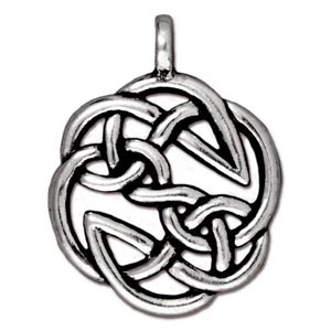 TierraCast Pewter Antique Silver Plated 23xx29.3mm Celtic Round Open Knot Pendant