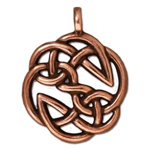 TierraCast Pewter Antique Copper Plated 23xx29.3mm Celtic Round Open Knot Pendant
