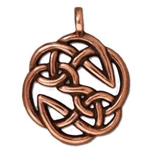 TierraCast Pewter Antique Copper Plated 23xx29.3mm Celtic Round Open Knot Pendant