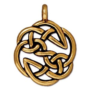 TierraCast Pewter Gold Plated 23xx29.3mm Celtic Round Open Knot Pendant