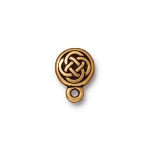 TierraCast Pewter Antiqued Gold Plated Celtic Circle Earring Posts x1pr
