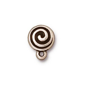 TierraCast Pewter Antiqued Silver Plated Spiral Earring Posts x1pr
