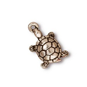TierraCast Pewter Silver Plated 19mm Turtle Tortoise Charm x1
