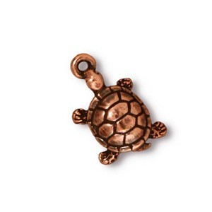 TierraCast Pewter Copper Plated 19mm Turtle Tortoise Charm x1