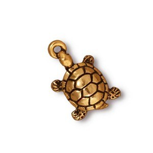 TierraCast Pewter Gold Plated 19mm Turtle Tortoise Charm x1