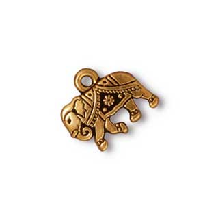 TierraCast Pewter Antique Gold Plated 14x12mm Gita Elephant Charm x1