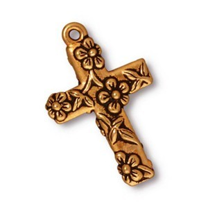 TierraCast Pewter Gold Plated 27mm Floral Cross Pendant x1