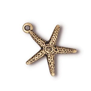 TierraCast Pewter Gold Plated 17.6mm Starfish Charm x1
