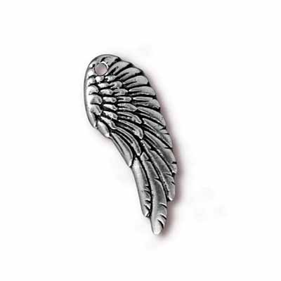 TierraCast Pewter Silver Plated 27mm Angel Wing Drop Charm x1