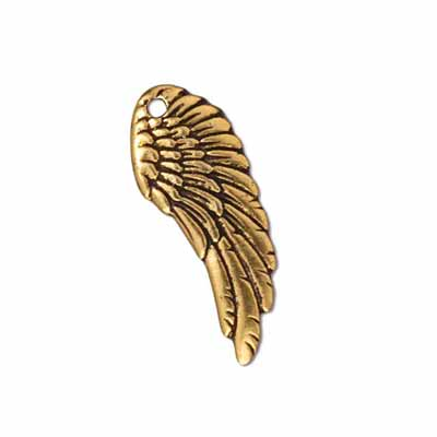 TierraCast Pewter Gold Plated 27mm Angel Wing Drop Charm x1