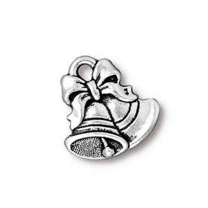 TierraCast Pewter Silver Plated 16.5mm Christmas Bells Charm x1