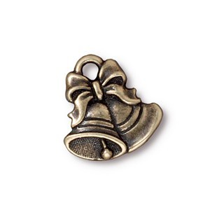 TierraCast Pewter Brass Oxide 16.5mm Christmas Bells Charm x1
