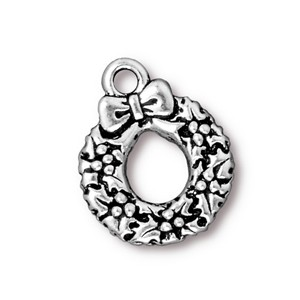 TierraCast Pewter Silver Plated 20.6mm Christmas Wreath Charm x1