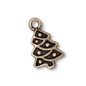 TierraCast Pewter Brass Oxide 20mm Christmas Tree Charm x1