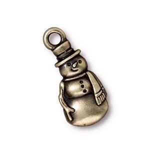 TierraCast Pewter Brass Oxide 23mm Frosty Snowman Charm x1