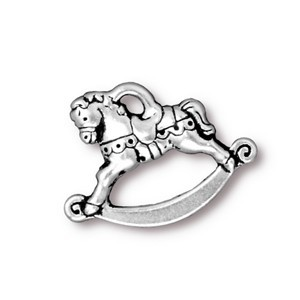 TierraCast Pewter Silver Plated 21.5mm Rocking Horse Charm x1