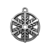 TierraCast Pewter Silver Plated 3/4 inch 19.5mm Snowflake Pendant