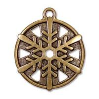 TierraCast Pewter Gold Plated 1 inch 24mm Snowflake Pendant