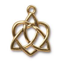 TierraCast Pewter Gold Plated 26.9xx21.2mm Celtic Open Heart Pendant