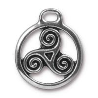 TierraCast Pewter Antique Silver Plated 26x22.3mm Celtic Triskele Pendant