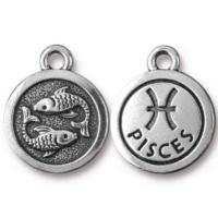 TierraCast Pewter Silver Plated Zodiac Charm, Pisces