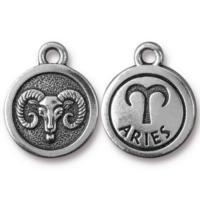 TierraCast Pewter Silver Plated Zodiac Charm, Aries