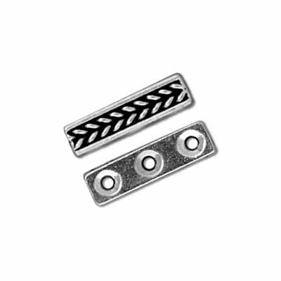 TierraCast Pewter Silver Plated Braided 3 Hole Bar Slider x1