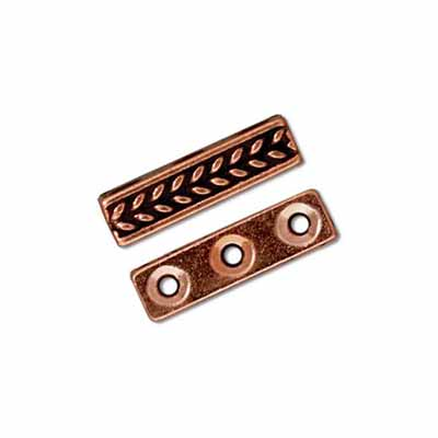 TierraCast Pewter Copper Plated Braided 3 Hole Bar Slider x1