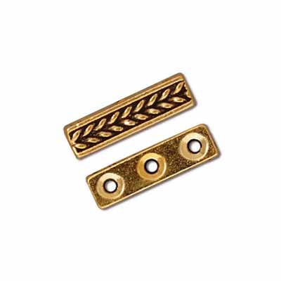 TierraCast Pewter Gold Plated Braided 3 Hole Bar Slider x1