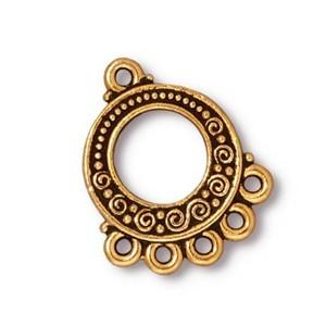 TierraCast Pewter Gold Plated Beaded Spirals Chandelier Link x1