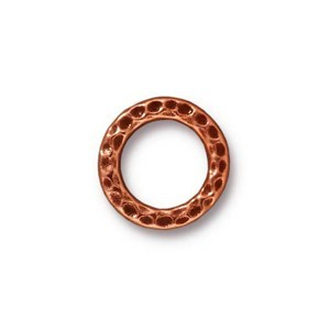 TierraCast Pewter Antique Copper Plated 13mm Med Hammertone Ring Link x1