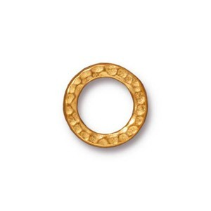 TierraCast Pewter Bright Gold Plated 13mm Med Hammertone Ring Link x1